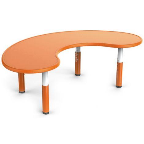 Masa semirotunda portocalie, din plastic, reglabila, marimea 0-3 pentru gradinita