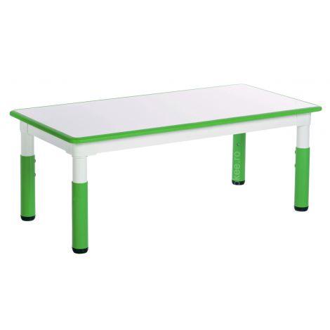 Masa dreptunghiulara alb-verde din plastic reglabila marimea 1-3 pentru gradinita