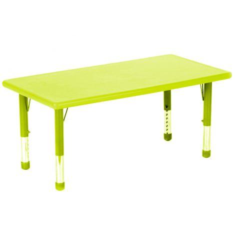 Masa dreptunghiulara verde lime din plastic reglabila marimea 0-3 pentru gradinita