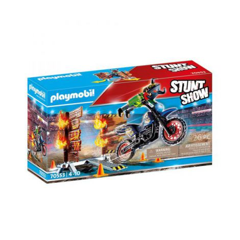 Stunt show - motocicleta cu perete de foc PM70553 Playmobil
