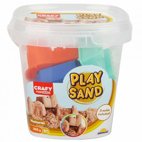 Nisip kinetic Fun Sand 350 gr Natur si 3 unelte de modelat