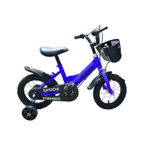 Bicicleta copii albastra cu pedale si roti ajutatoare 12 inch