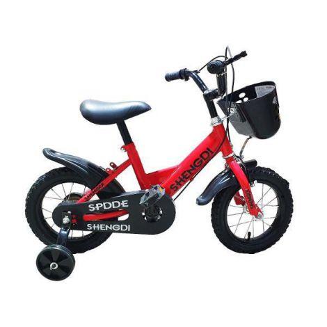 Bicicleta copii rosie cu pedale si roti ajutatoare 12 inch