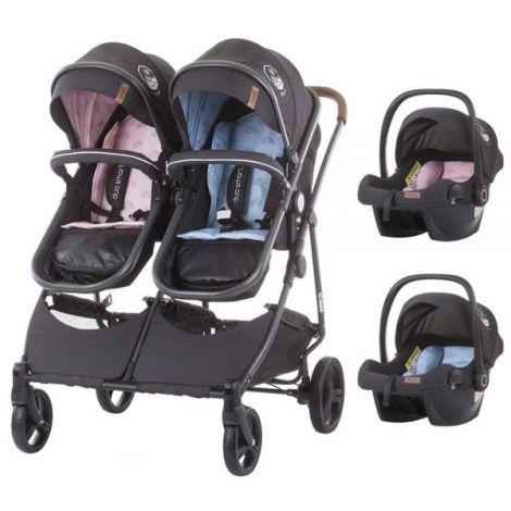 Carucior gemeni Chipolino Duo Smart 3 in 1 blue pink