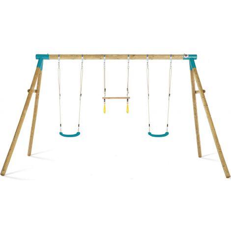 Leagan din lemn pentru 3 copii Mangabey Swing Set Plum 27656