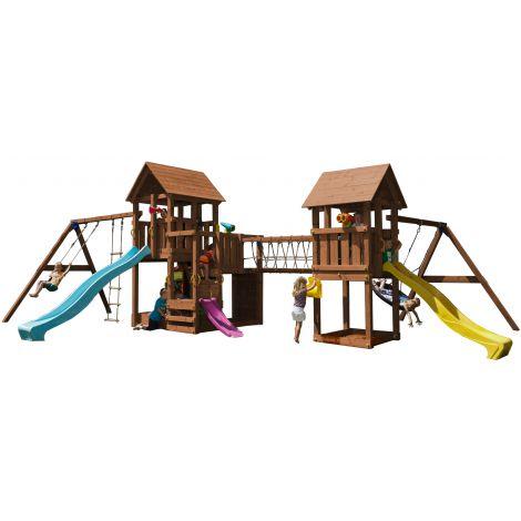 Spatiu de joaca din lemn Penthouse Kiosk cu leagane si pod BlueRabbit 2.0
