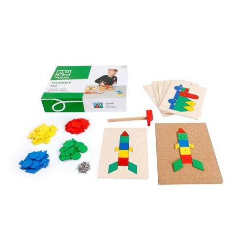 Joc Educativ de constructii cu ciocan si cuie Forme Geometrice
