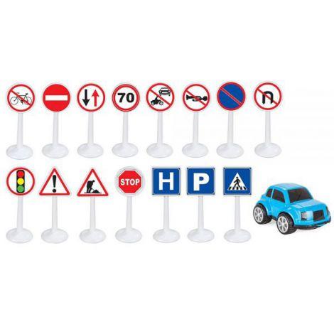 Set Pilsan Jucarie indicatoare rutiere Mini Traffic Signs cu masinuta