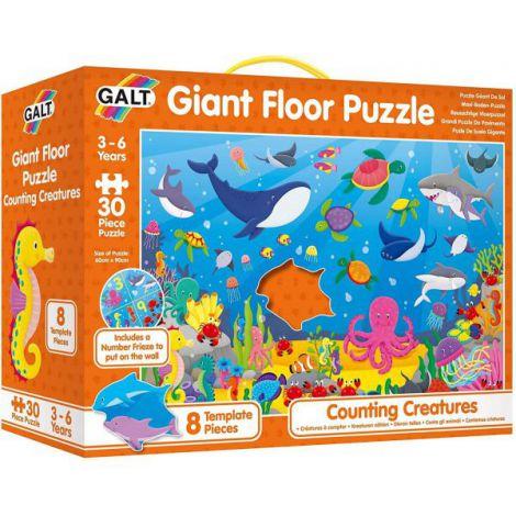 Puzzle podea: numaram animalute marine (30 piese)