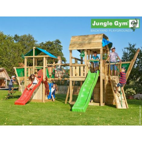 Complex de joaca din lemn cu doua turnuri si pod Jungle Gym