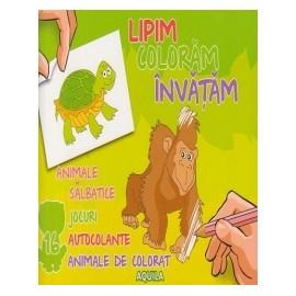Lipim, coloram, invatam - Animale salbatice. Jocuri, autocolante, animale de colorat