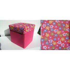 Scaun cutie jucarii cu capac roz si flori