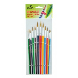 Set 12 pensule cu varf rotund - Ecada