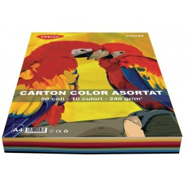 Carton A4 color asortat 10 culori 50 coli