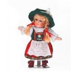 Papusa de portelan - Fetita in haine traditionale bavareze 22 cm