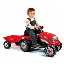 Tractor rosu cu pedale si remorca - Smoby