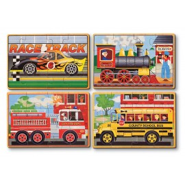 Set 4 Puzzle Lemn In Cutie - Vehicule imagine