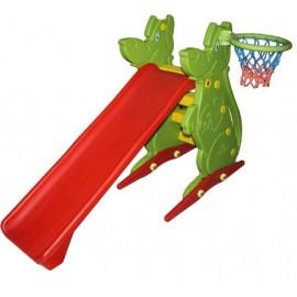 Spatiu de joaca cu tobogan si cos de basket