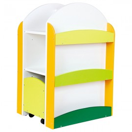 Biblioteca Colores multifunctionala cu rafturi si sertare