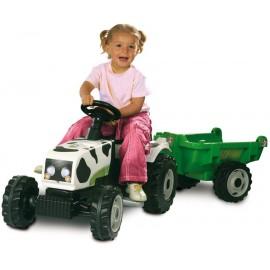Tractor model vacuta cu remorca - Smoby