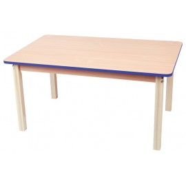 Blat masa dreptunghiular cu cant colorat - albastru