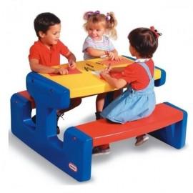 Litlle Tikes - Masa picnic cu 2 banchete pt. 6 copii (albastru