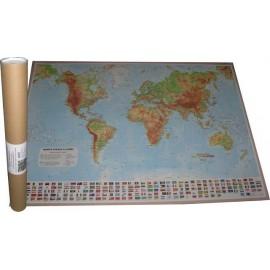 Harta fizica si geografica a LUMII - 67 x 97 cm