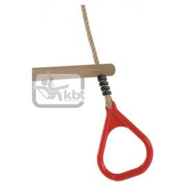 Trapez din lemn cu inele din plastic - PP10, Rosu, 2,55 m
