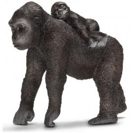 Figurina animal gorila femela cu pui