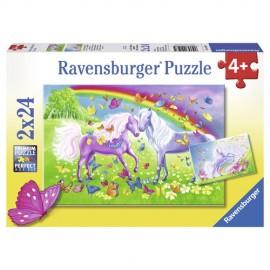 Puzzle cai si curcubeu 2x24 piese
