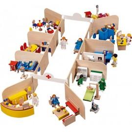 Set de joaca din lemn Spital cu accesorii