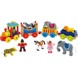 Trenulet din lemn Circul cu animale