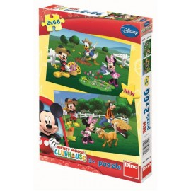 Puzzle 2 in 1 - clubul lui mickey mouse la ferma (66 piese)