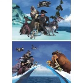 Puzzle 2 in 1 - ice age - lupta cu piratii (48 piese)