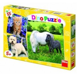 Puzzle 3 in 1 - animale (55 piese)