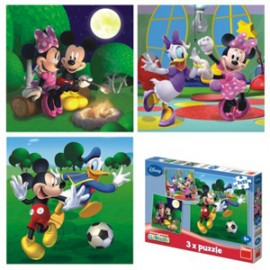 Puzzle 3 in 1 - clubul lui mickey mouse - peripetii de vacanta (55 piese)