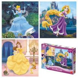 Puzzle 3 in 1 - princess (55 piese)