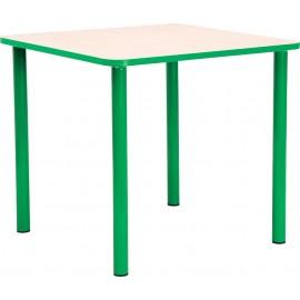 Masa scolari - patrata - cu cant colorat, martimea 3 - verde