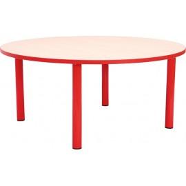 Masa scolari - rotunda - cu cant colorat, martimea 3 - rosu