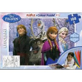 Set de colorat Puzzle 108 piese si Creioane colorate - Disney Frozen