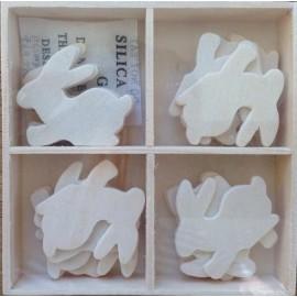Set 20 figurine lemn natur - Iepurasi