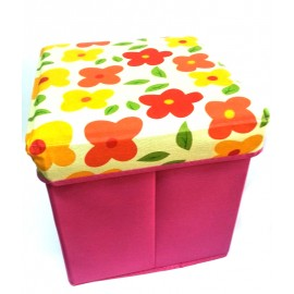 Scaun Cutie Jucarii Roz Cu Floricele