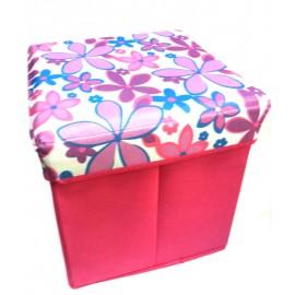 Scaun cutie jucarii roz cu flori mov