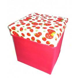 Scaun cutie jucarii roz cu capsuni