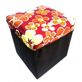 Scaun cutie jucarii maro cu floricele