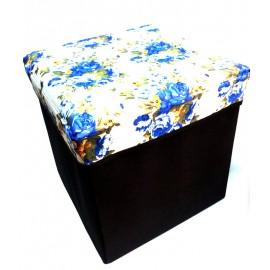 Scaun cutie jucarii maro cu trandafiri albastri