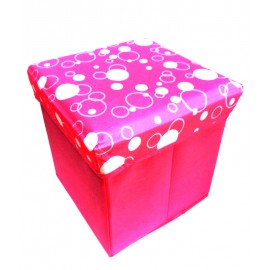 Scaun cutie jucarii roz cu cercuri albe