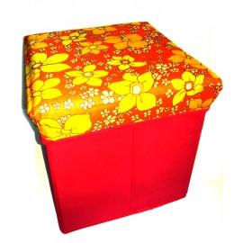 Scaun cutie jucarii roz cu flori portocalii
