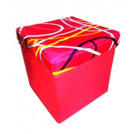 Scaun cutie jucarii roz cu linii colorate