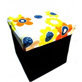 Scaun cutie jucarii maro cu flori 1